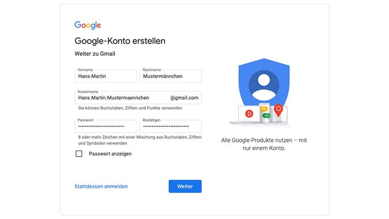Der erste Schritt der Google-Anmeldung mit Feldern für Name, Nutzername und Passwort.
