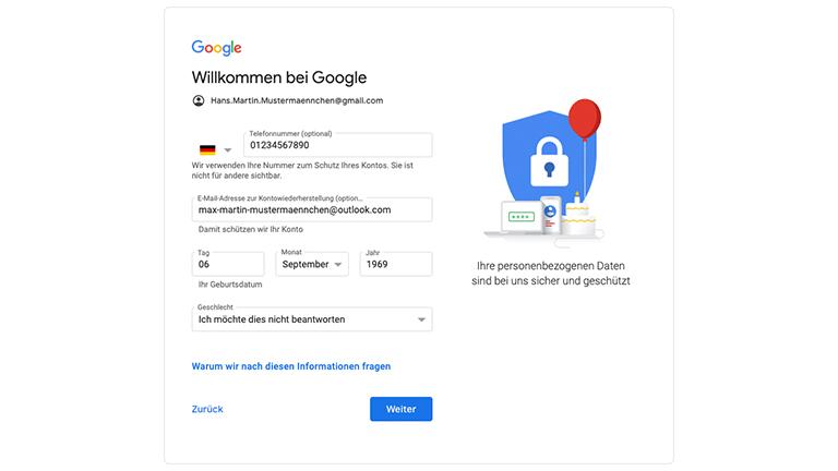 Der zweite Schritt der Google-Anmeldung mit Feldern für Telefonnummer, alternativer E-Mail-Adresse, Geburtsdatum und Geschlecht.