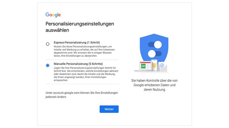 Der dritte Schritt der Google-Anmeldung mit der Wahl zwischen der Express- und manuellen Personalisierung.