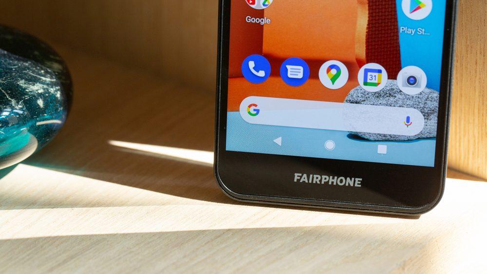 Detailansicht der unteren Displayhälfte beim Fairphone 3+.