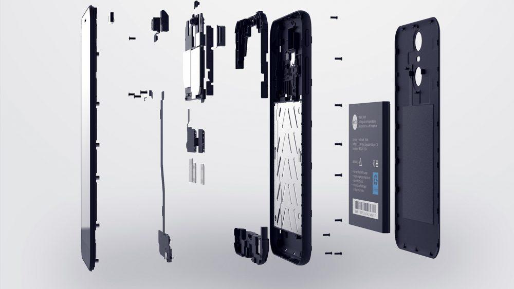 Ein Shiftphone in einer Explosionsansicht seiner zerlegbaren Einzelteile.