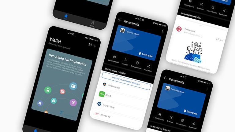 Mehrere Screenshots von einem Huawei-Wallet mit einem hinzugefügten Bankkonto über Bluecode.