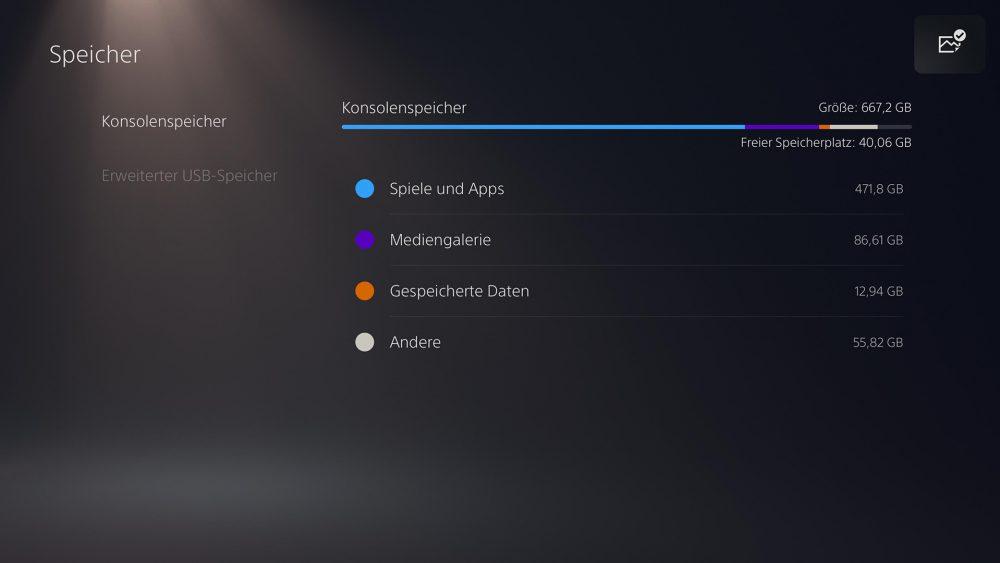 Screenshot der PS5 im Konsolenspeicher-Menü.