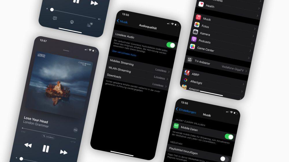 Mehrere Screenshots zeigen die Aktivierung von lossless in den Einstellungen eines iPhones.
