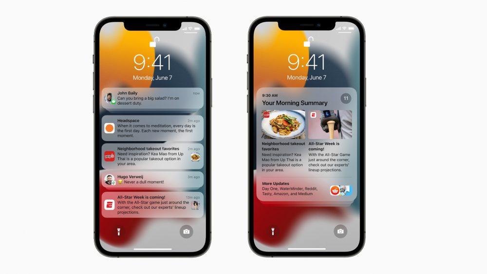 Auf zwei iPhones sind die neuen Benachrichtigungen sowie die tägliche Zusammenfassung dafür zu sehen.