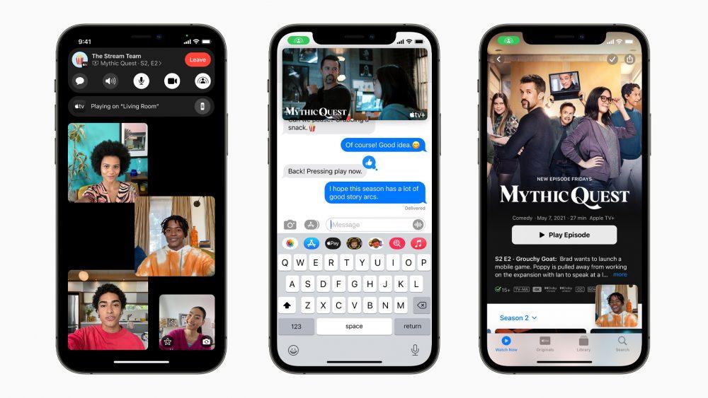 Drei Screenshots zeigen die neuen Funktionen von FaceTime unter iOS 15. Auf einem ist ein Gruppen-Videochat zu sehen, auf einem ein gemeinsam geschautes Video und auf einem die Auswahl einer Serie bei Apple TV.