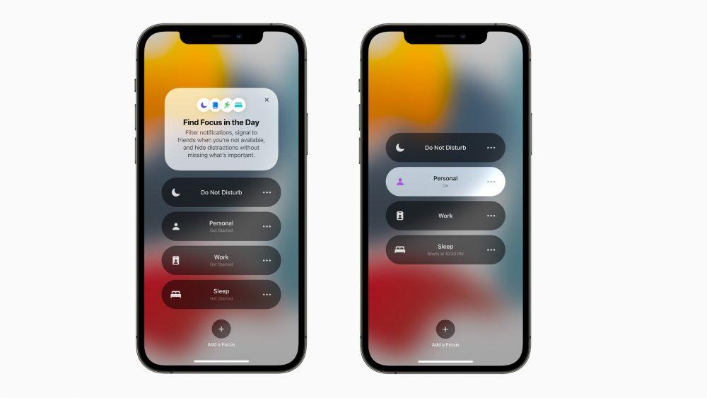 Zwei Screenshots zeigen die neue Funktion Focus sowie die Einstellungen dazu.