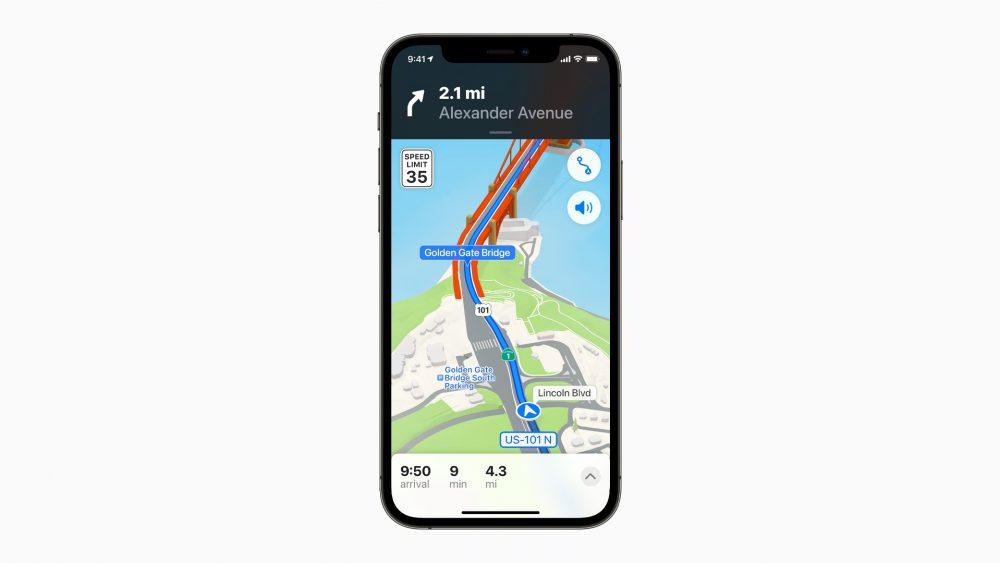 Ein Screenshot von Apple Maps zeigt einen auf einer 3D-Karte eingezeichneten Zebrastreifen.