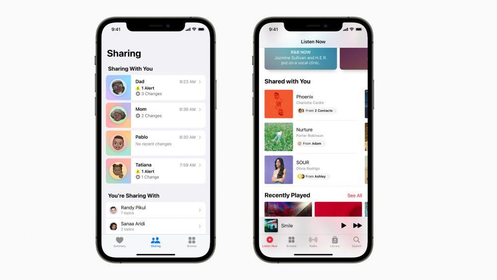 Die neue Funktion Share with You ist auf zwei Screenshots in unterschiedlichen Apps zu sehen.