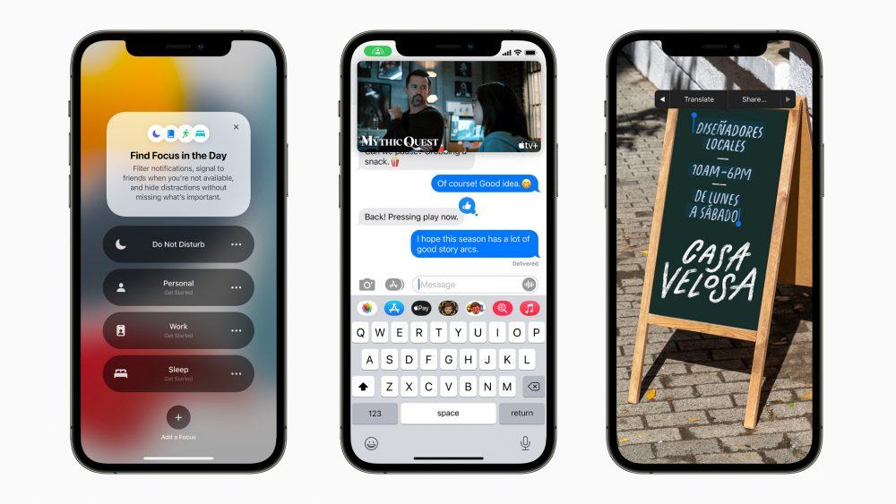 Drei Screenshots von iOS 15 nebeneinander zeigen die neue Funktion Focus, gemeinsames Bingen mit FaceTime und die Texterkennung für Fotos.
