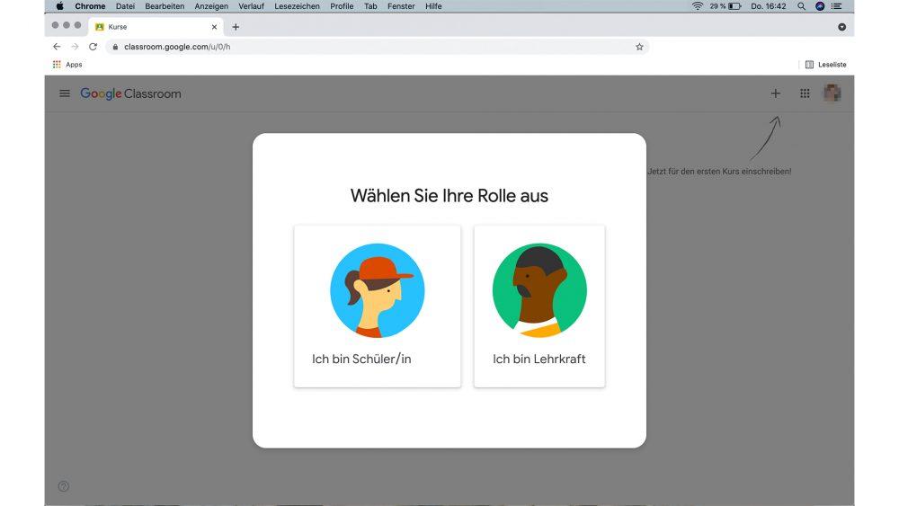 Screenshot Google Classroom, Auswahlfenster Lehrkraft, Schülerin oder Schüler