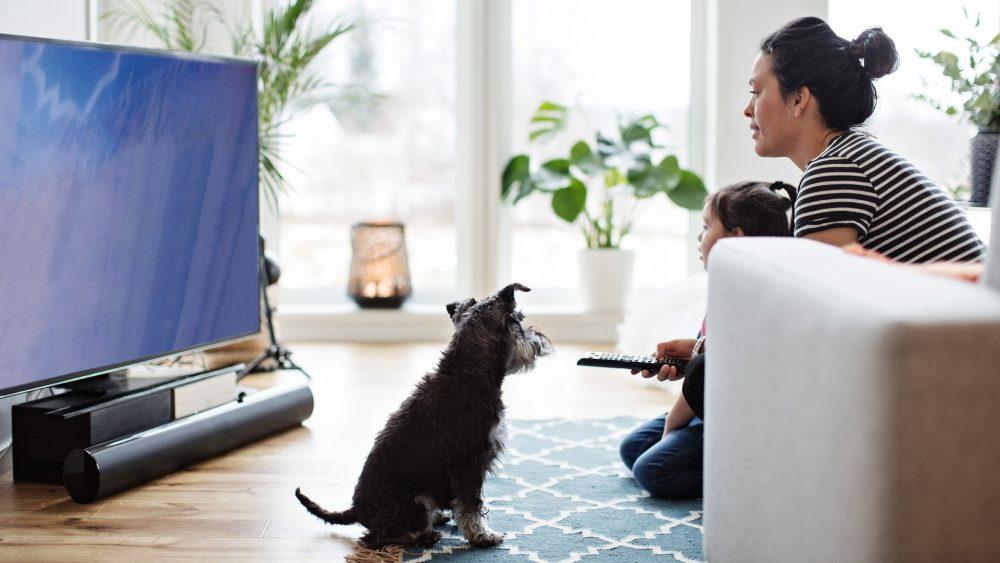 Eine Frau hockt mit einem Kind vor dem Sofa auf dem Boden, vor ihnen steht ein Fernseher mit einer Soundbar.