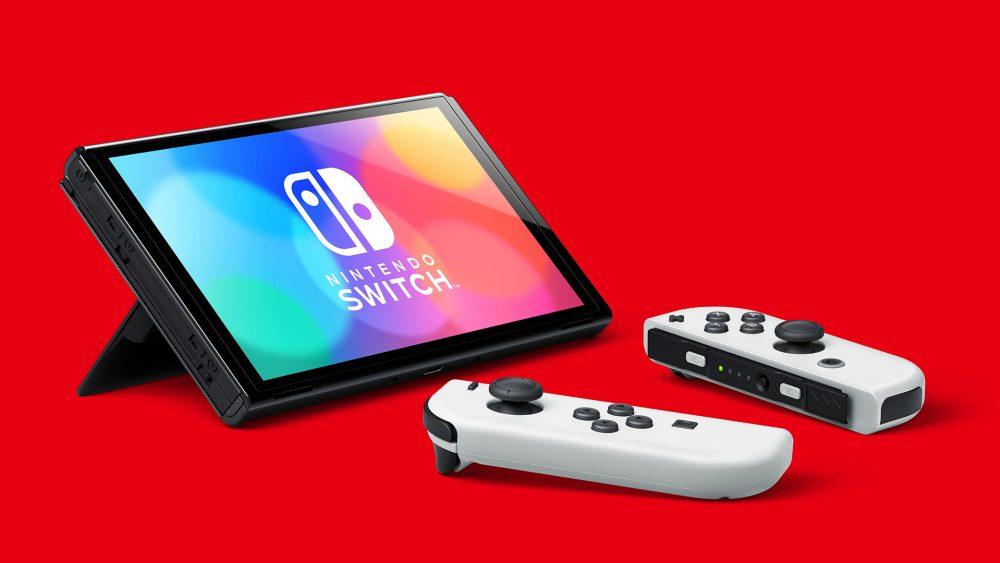 Die Nintendo-Switch im Tisch-Modus mit zwei Joy-Cons davor.