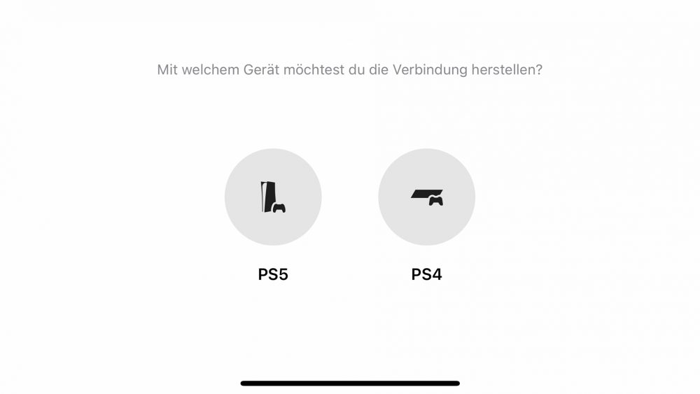 Screenshot der Konsolen-Auswahl in der Remote-Play-App.