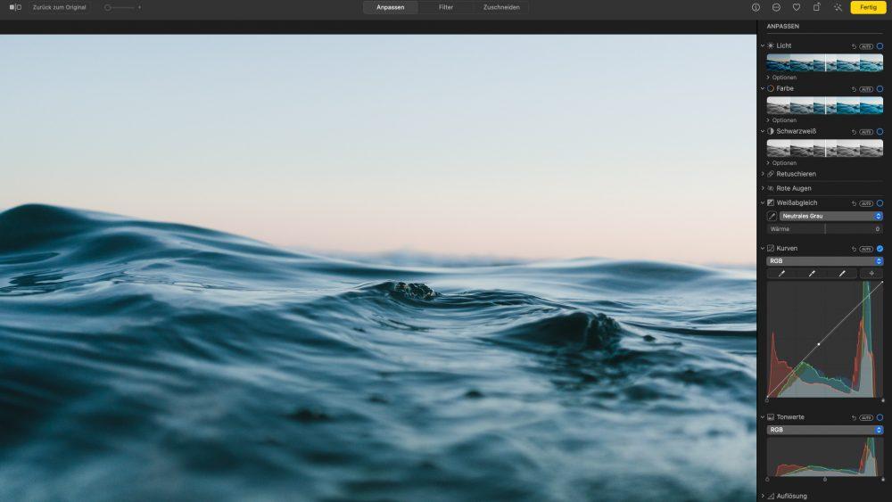 Screenshot der Benutzeroberfläche von Apple Fotos.