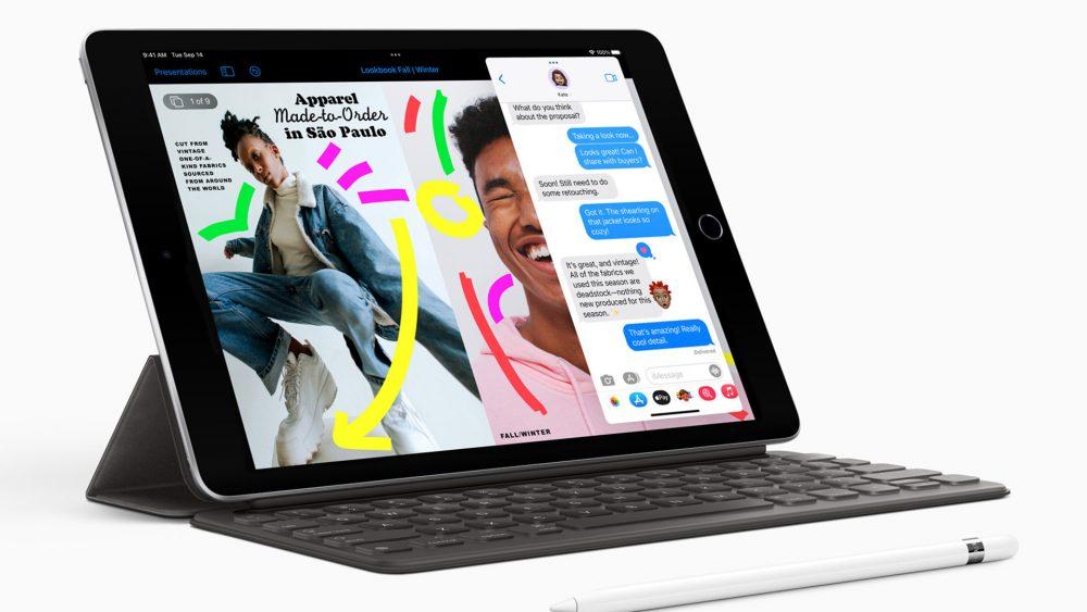 Produktfoto des neuen iPads. Das Display zeigt mehrere parallel geöffnete Apps.