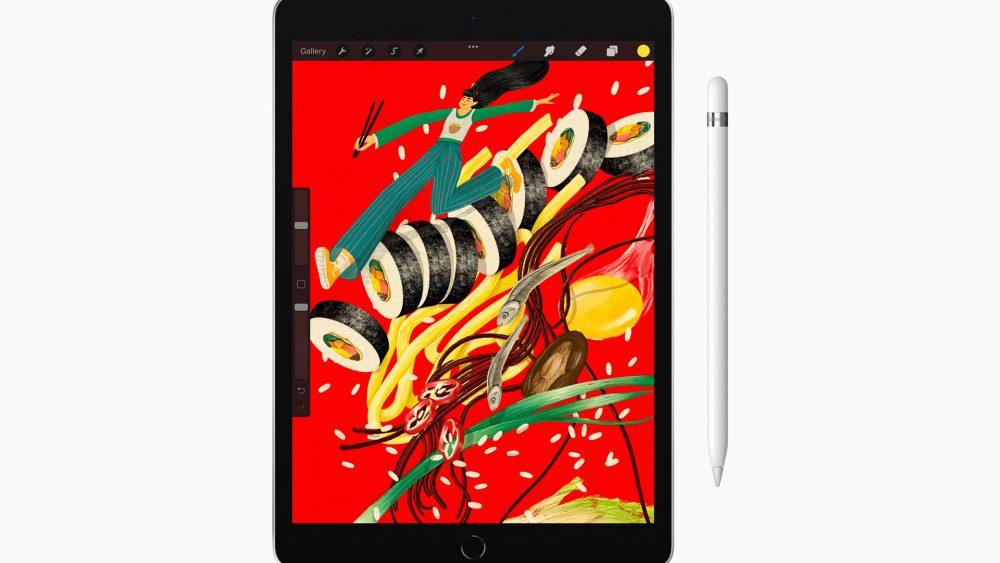 Produktfoto des neuen iPads. Das Display zeigt ein Grafikprogramm mit einer bunten und farbintensiven Illustration.