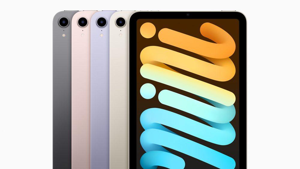 Produktfoto des iPad mini in den vier verfügbaren Farben.