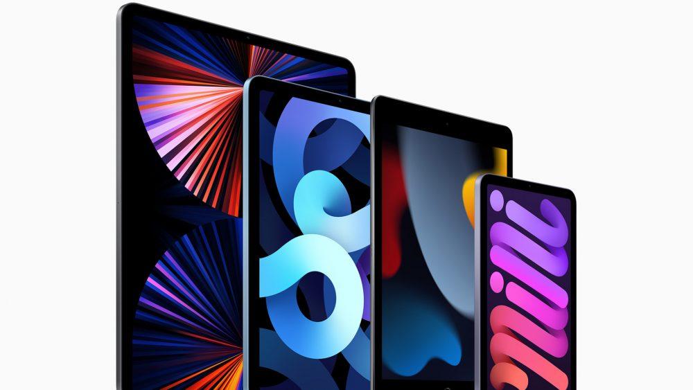 Produktfoto der iPad-Produktfamilie mit allen aktuellen Modellen.
