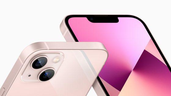 Produktbild des iPhone 13 in Rosé.