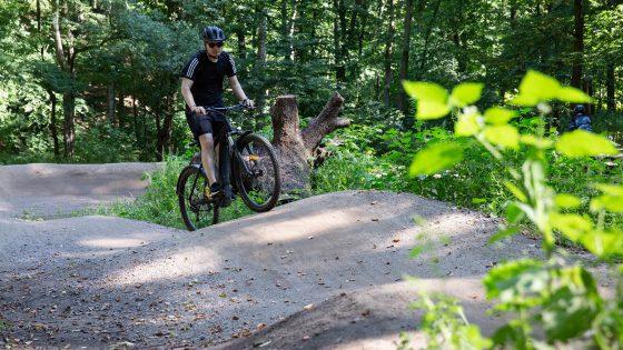 Eine Person fährt auf einem E-MTB über kleine Hügel auf einem Bike-Trail.